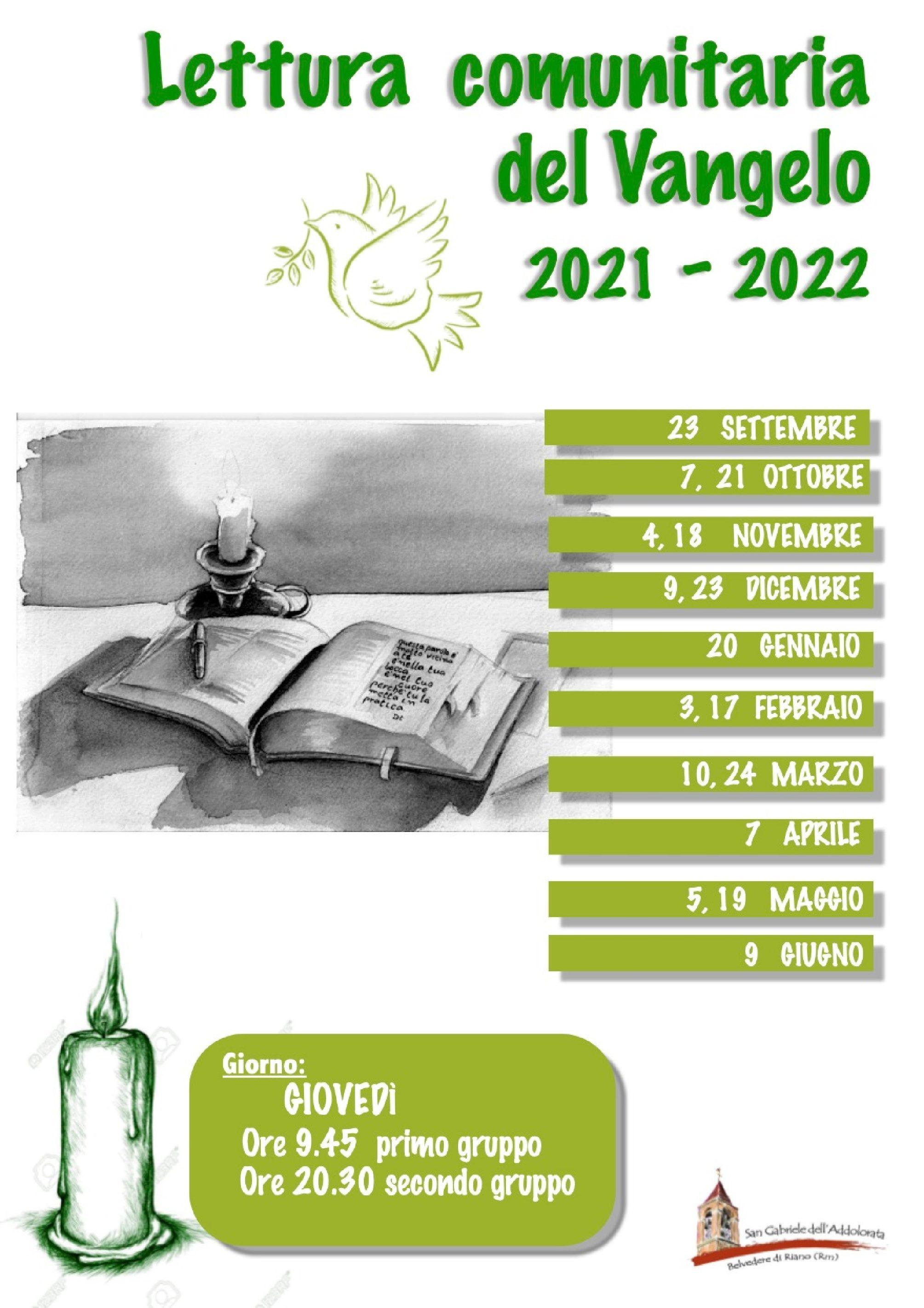Lettura comunitaria del Vangelo: programma 2021 – 2022