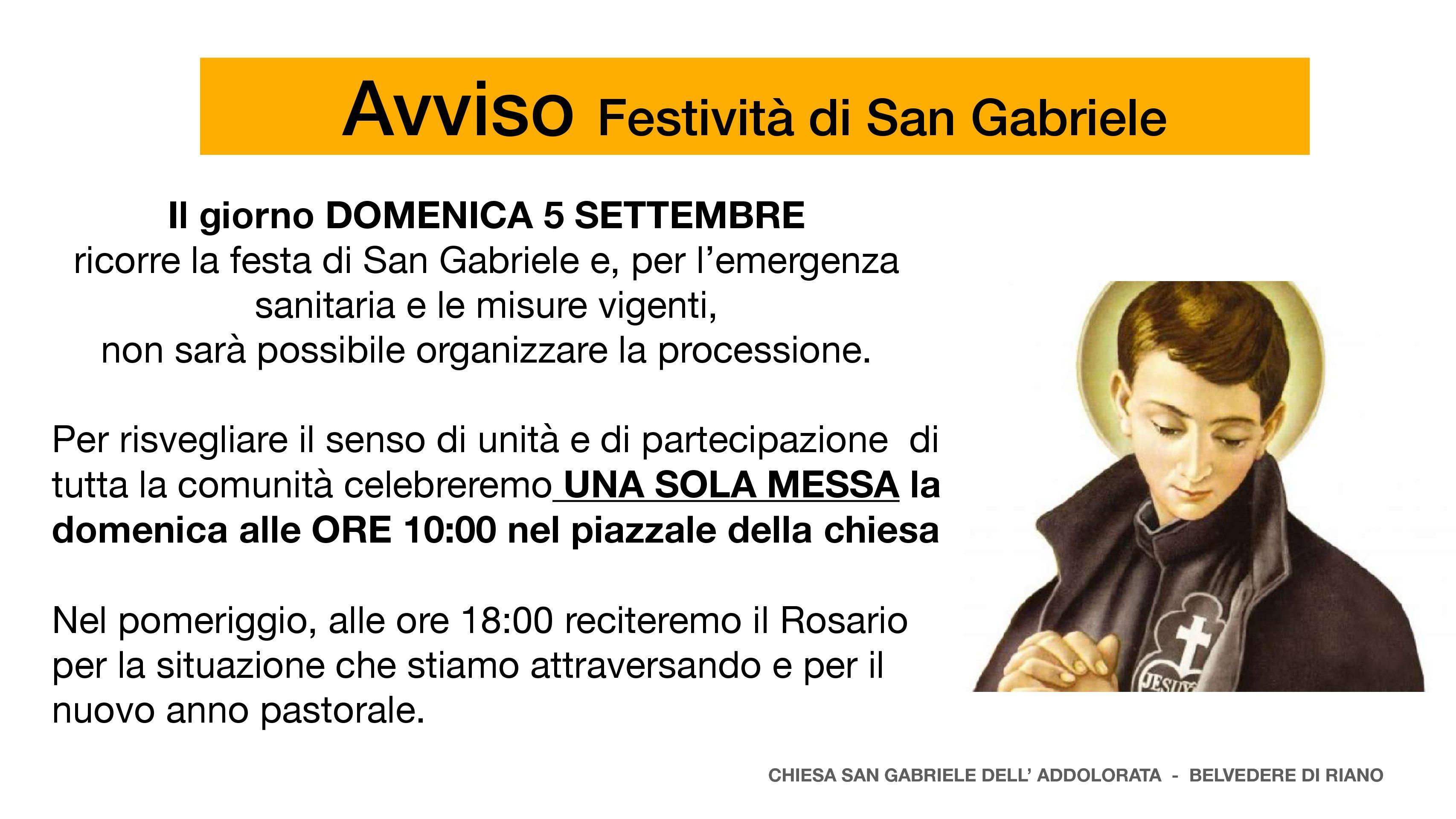 5 Settembre 2021 – Festa di San Gabriele